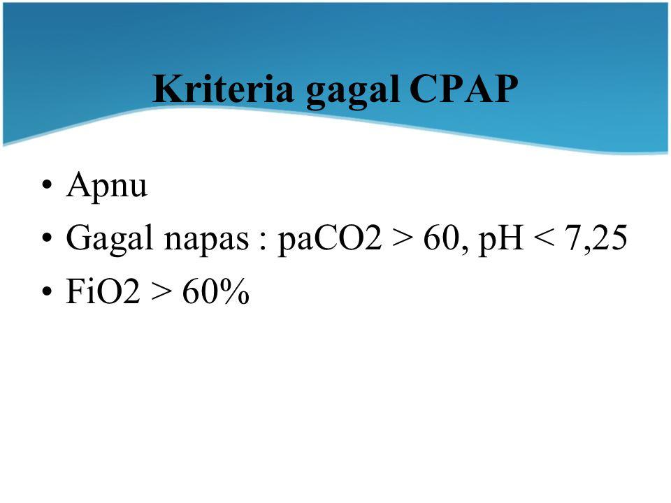 Kriteria gagal CPAP Apnu Gagal napas : paCO2 > 60, pH < 7,25