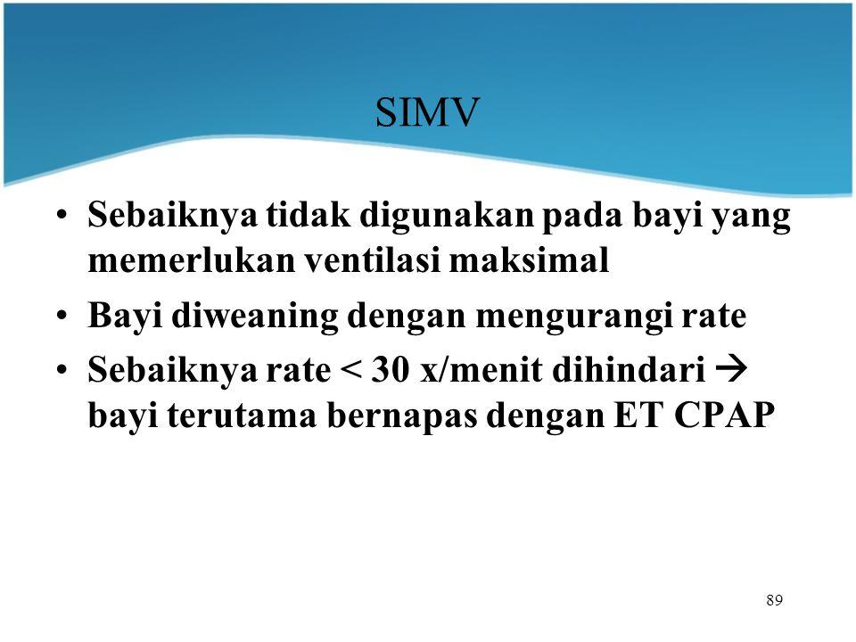 SIMV Sebaiknya tidak digunakan pada bayi yang memerlukan ventilasi maksimal. Bayi diweaning dengan mengurangi rate.
