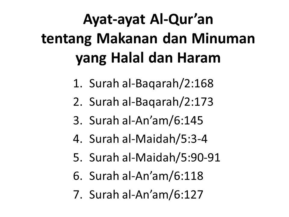 Ayat-ayat Al-Qur'an tentang Makanan dan Minuman yang Halal dan Haram