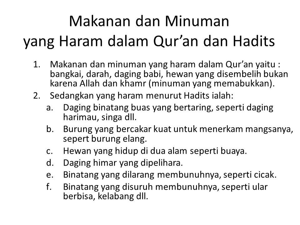Makanan dan Minuman yang Haram dalam Qur'an dan Hadits