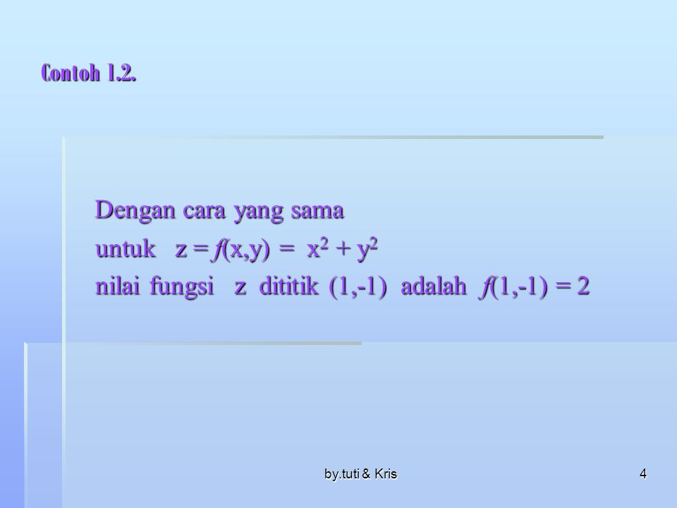Dengan cara yang sama Contoh 1.2. untuk z = f(x,y) = x2 + y2