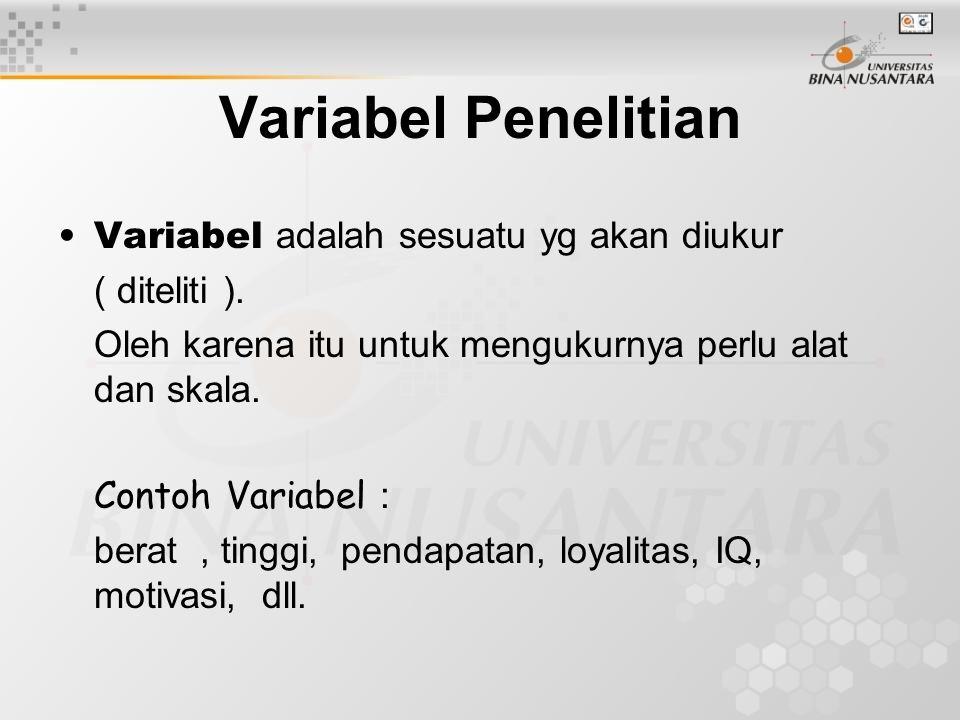 Variabel Penelitian Variabel adalah sesuatu yg akan diukur