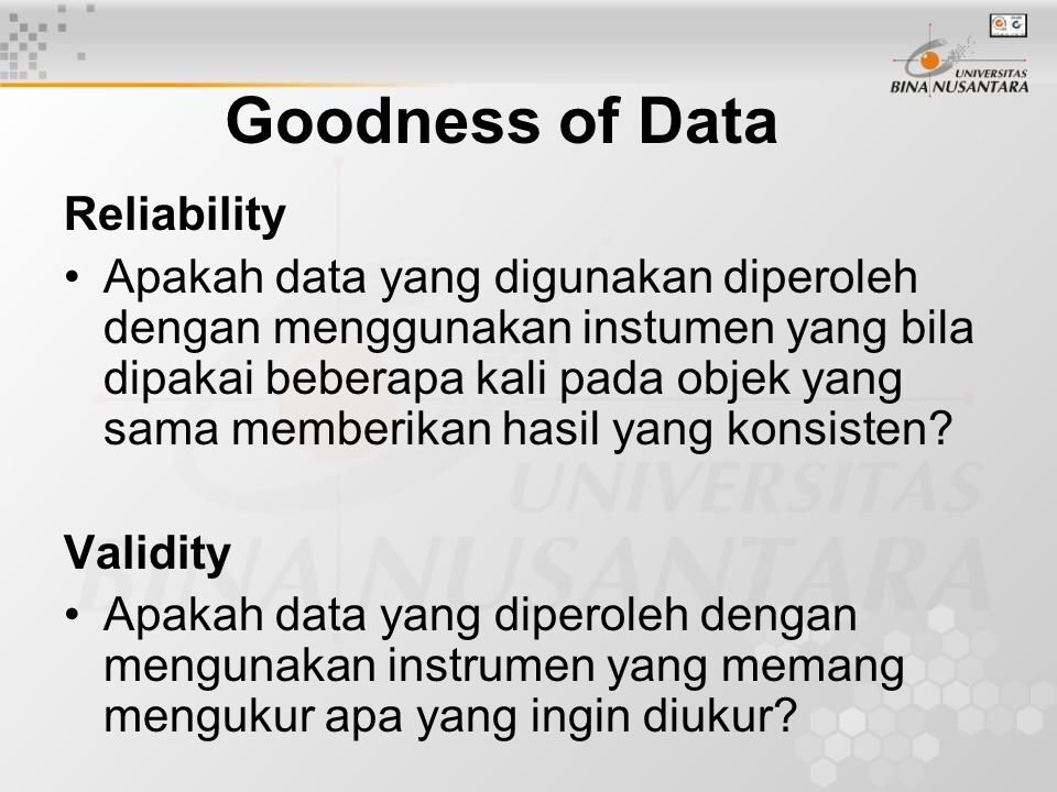 Goodness of Data Reliability