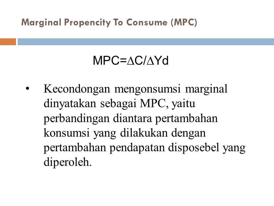 Marginal Propencity To Consume (MPC)