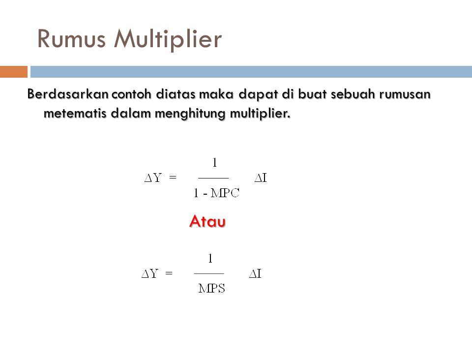 Rumus Multiplier Berdasarkan contoh diatas maka dapat di buat sebuah rumusan metematis dalam menghitung multiplier.