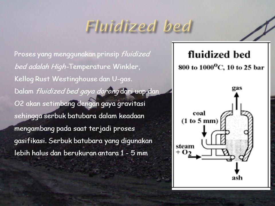 Fluidized bed Proses yang menggunakan prinsip fluidized bed adalah High-Temperature Winkler, Kellog Rust Westinghouse dan U-gas.