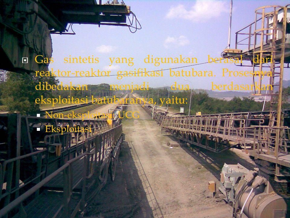 Gas sintetis yang digunakan berasal dari reaktor-reaktor gasifikasi batubara. Prosesnya dibedakan menjadi dua berdasarkan eksploitasi batubaranya, yaitu: