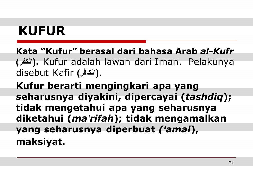 KUFUR Kata Kufur berasal dari bahasa Arab al-Kufr (الكفر). Kufur adalah lawan dari Iman. Pelakunya disebut Kafir (الكافر).