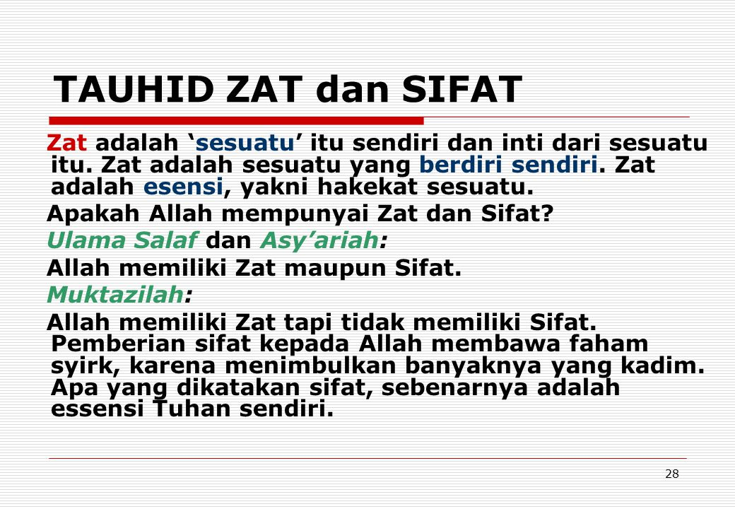 TAUHID ZAT dan SIFAT