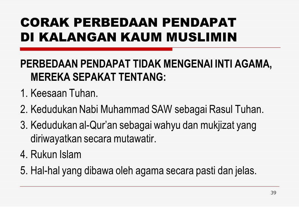 CORAK PERBEDAAN PENDAPAT DI KALANGAN KAUM MUSLIMIN