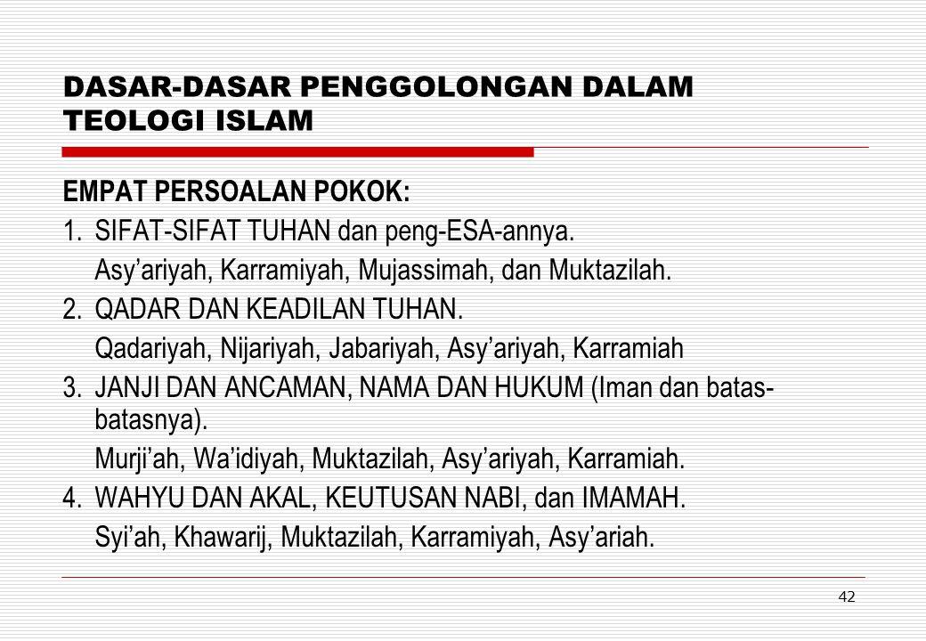 DASAR-DASAR PENGGOLONGAN DALAM TEOLOGI ISLAM
