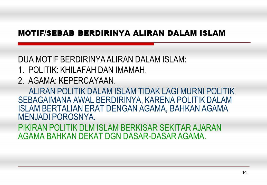 MOTIF/SEBAB BERDIRINYA ALIRAN DALAM ISLAM