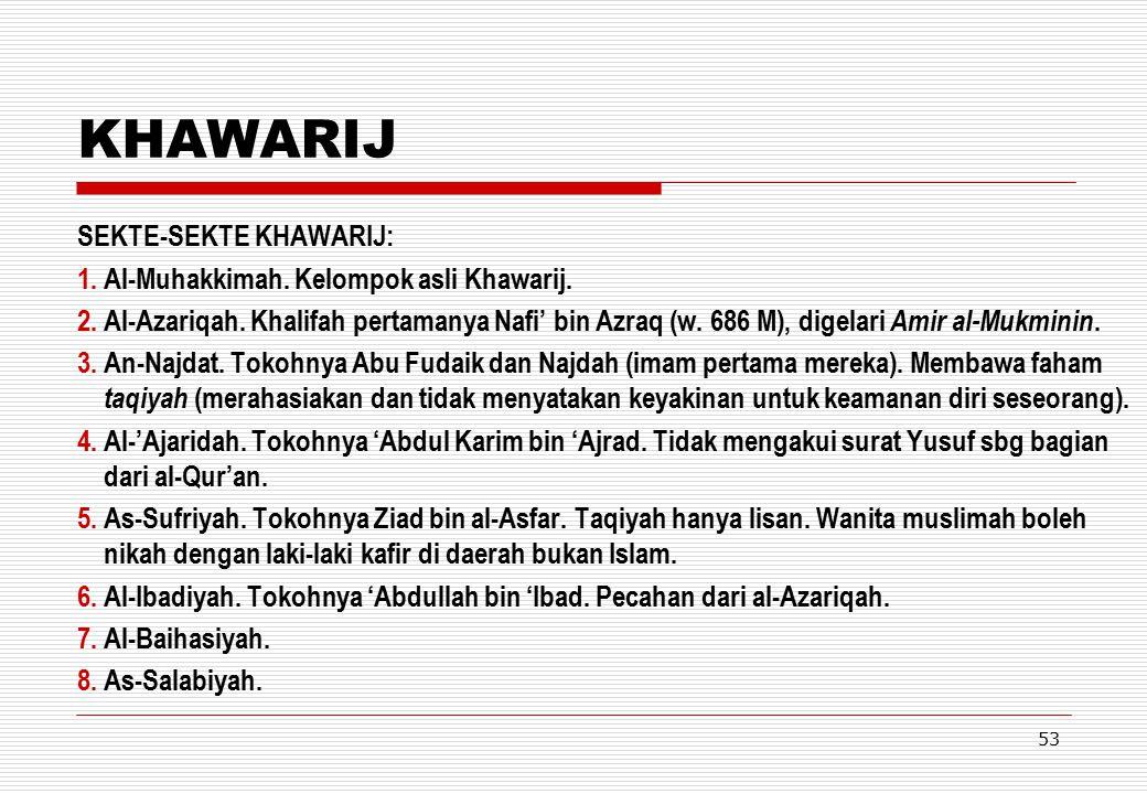 KHAWARIJ SEKTE-SEKTE KHAWARIJ: Al-Muhakkimah. Kelompok asli Khawarij.