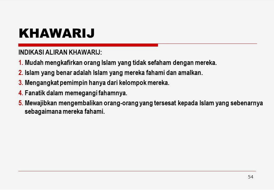 KHAWARIJ INDIKASI ALIRAN KHAWARIJ: