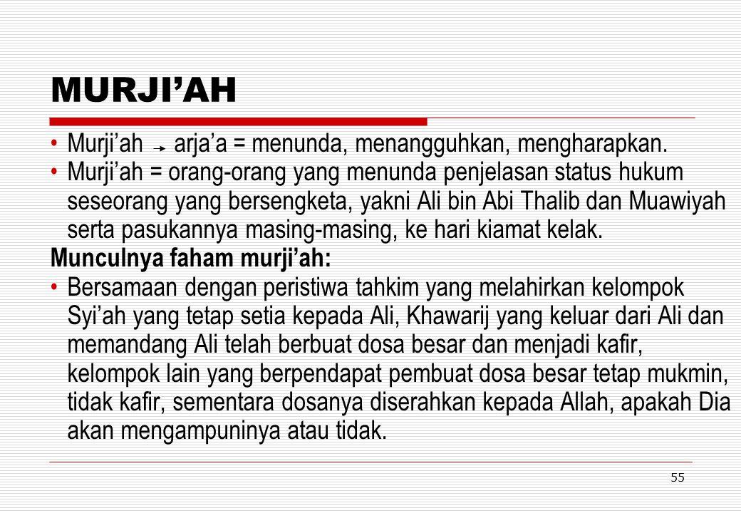 MURJI'AH Murji'ah arja'a = menunda, menangguhkan, mengharapkan.