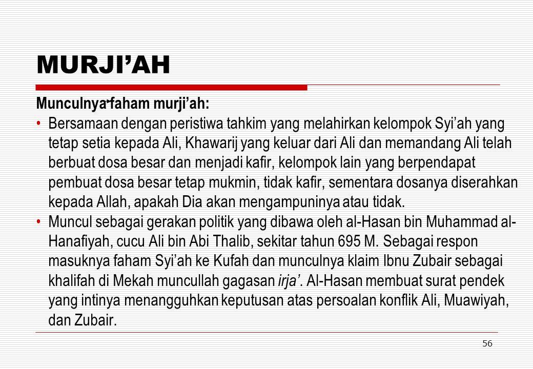 MURJI'AH Munculnya faham murji'ah: