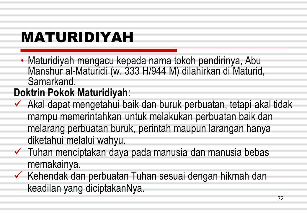 MATURIDIYAH Maturidiyah mengacu kepada nama tokoh pendirinya, Abu Manshur al-Maturidi (w. 333 H/944 M) dilahirkan di Maturid, Samarkand.