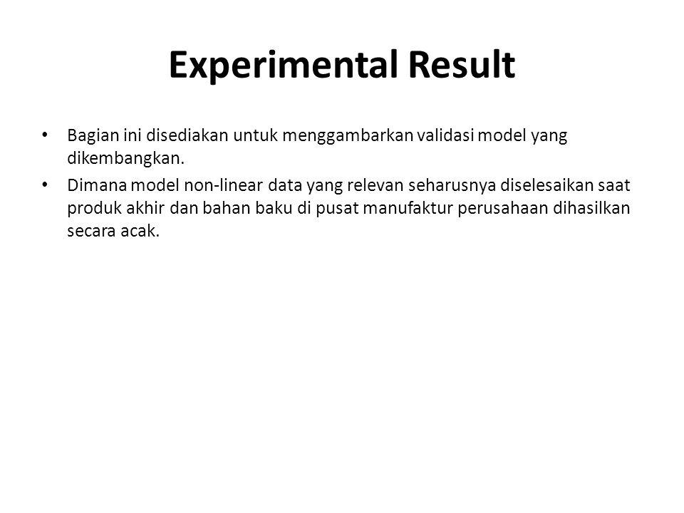 Experimental Result Bagian ini disediakan untuk menggambarkan validasi model yang dikembangkan.