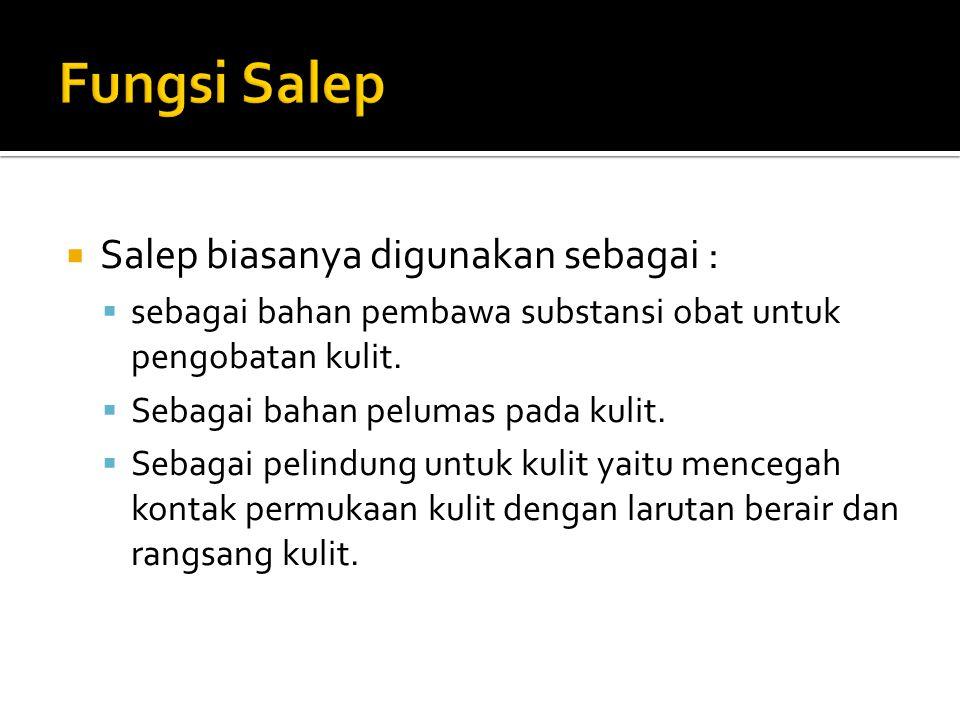 Fungsi Salep Salep biasanya digunakan sebagai :