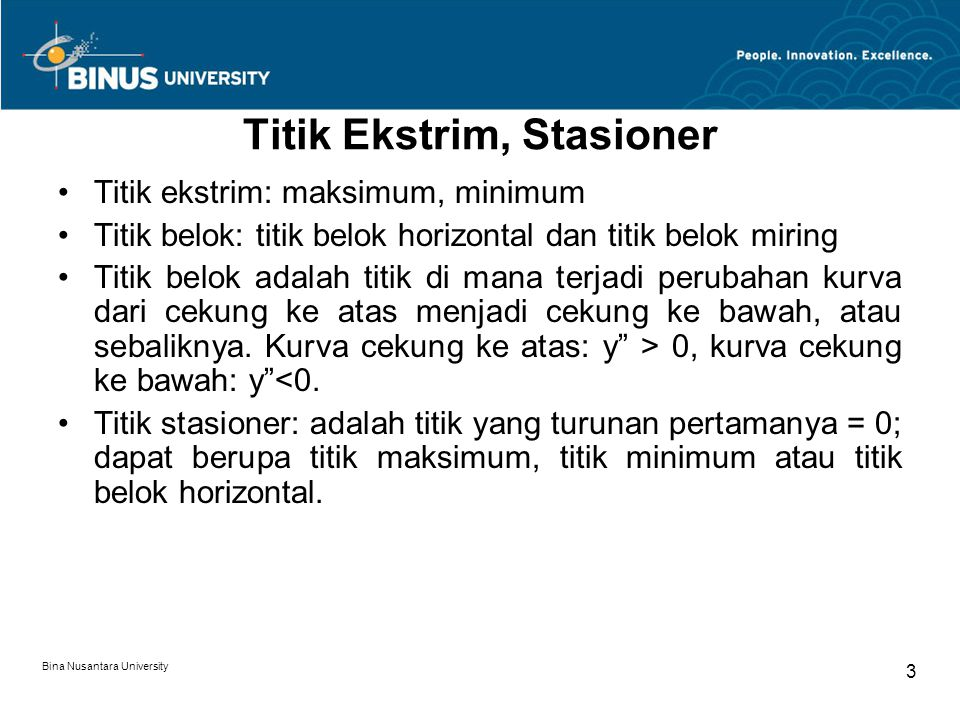 Titik Ekstrim, Stasioner