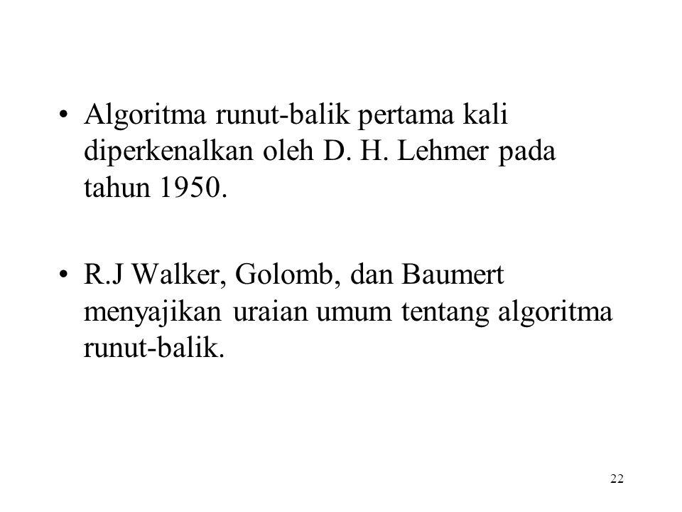 Algoritma runut-balik pertama kali diperkenalkan oleh D. H
