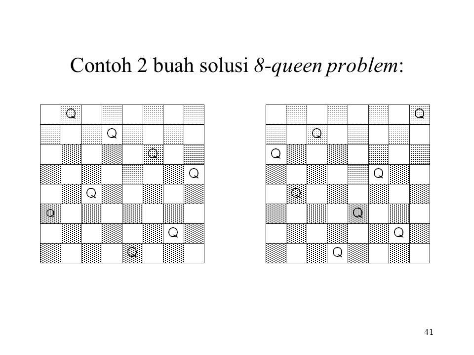 Contoh 2 buah solusi 8-queen problem:
