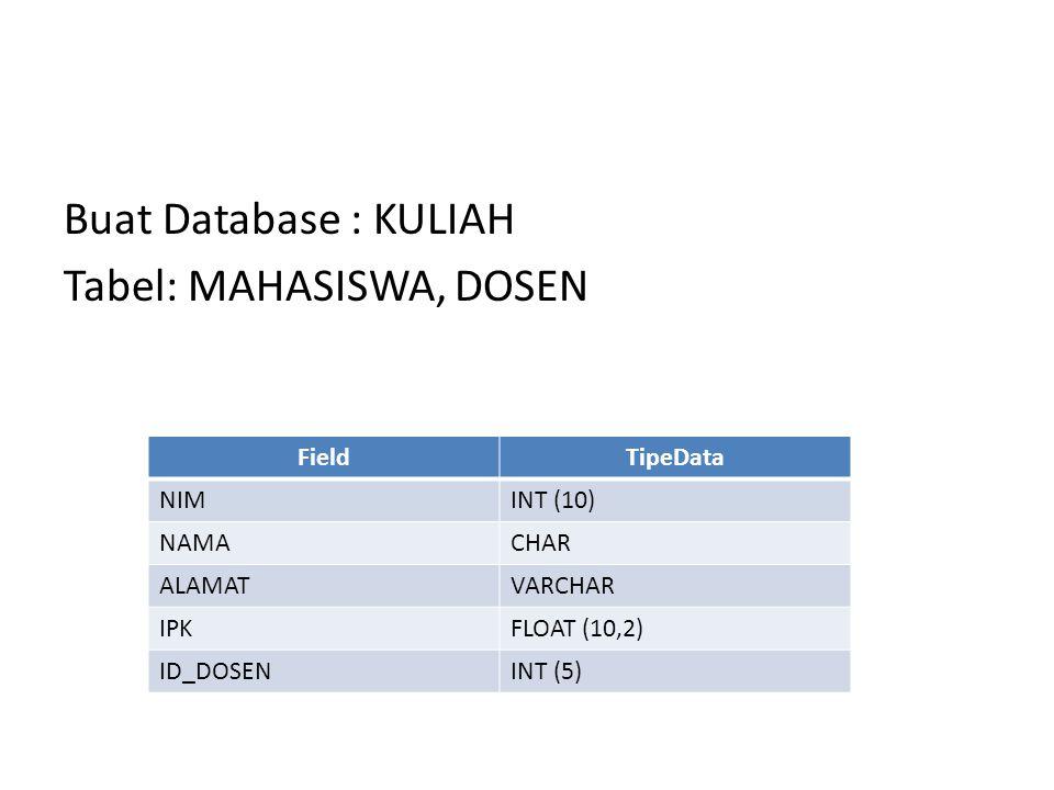 Buat Database : KULIAH Tabel: MAHASISWA, DOSEN