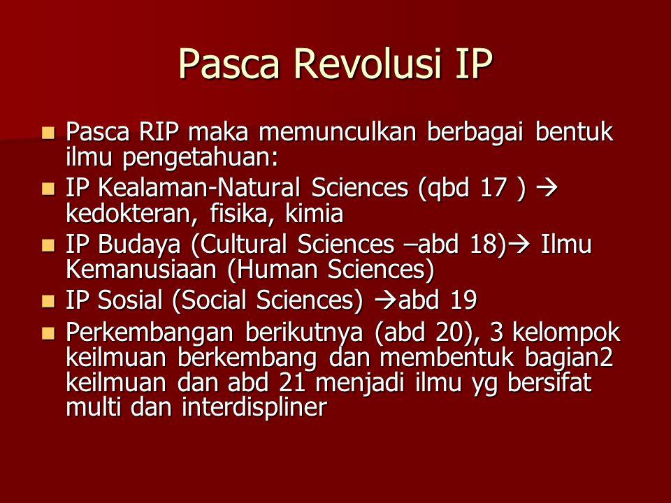 Pasca Revolusi IP Pasca RIP maka memunculkan berbagai bentuk ilmu pengetahuan: IP Kealaman-Natural Sciences (qbd 17 )  kedokteran, fisika, kimia.