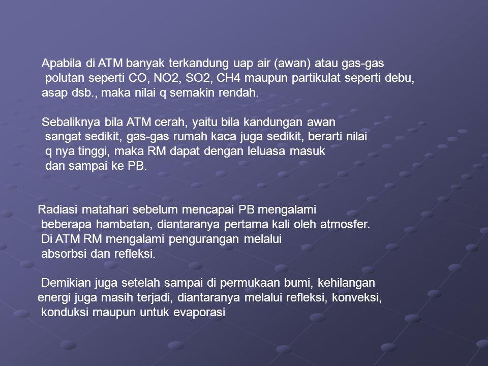 Apabila di ATM banyak terkandung uap air (awan) atau gas-gas