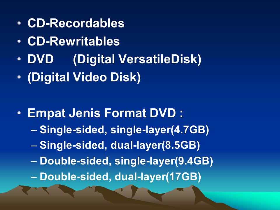 DVD (Digital VersatileDisk) (Digital Video Disk)