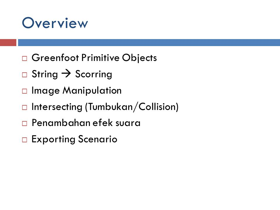 Overview Greenfoot Primitive Objects String  Scorring