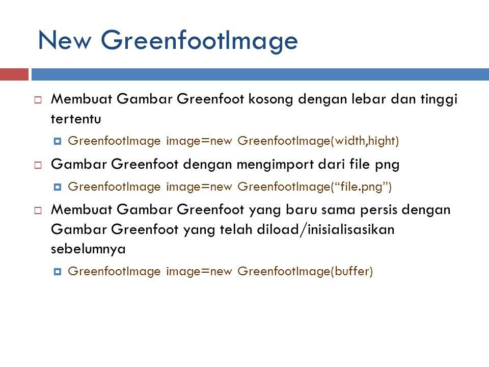 New GreenfootImage Membuat Gambar Greenfoot kosong dengan lebar dan tinggi tertentu. GreenfootImage image=new GreenfootImage(width,hight)