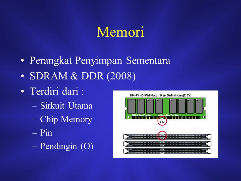 Memori Perangkat Penyimpan Sementara SDRAM & DDR (2008) Terdiri dari :