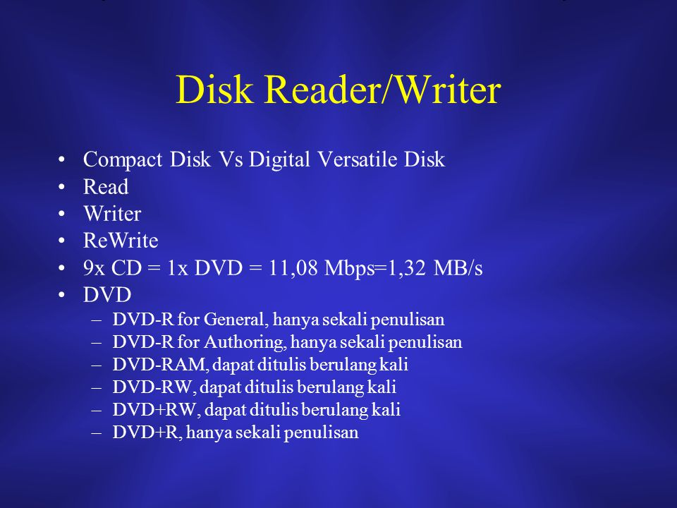Disk Reader/Writer Compact Disk Vs Digital Versatile Disk Read Writer