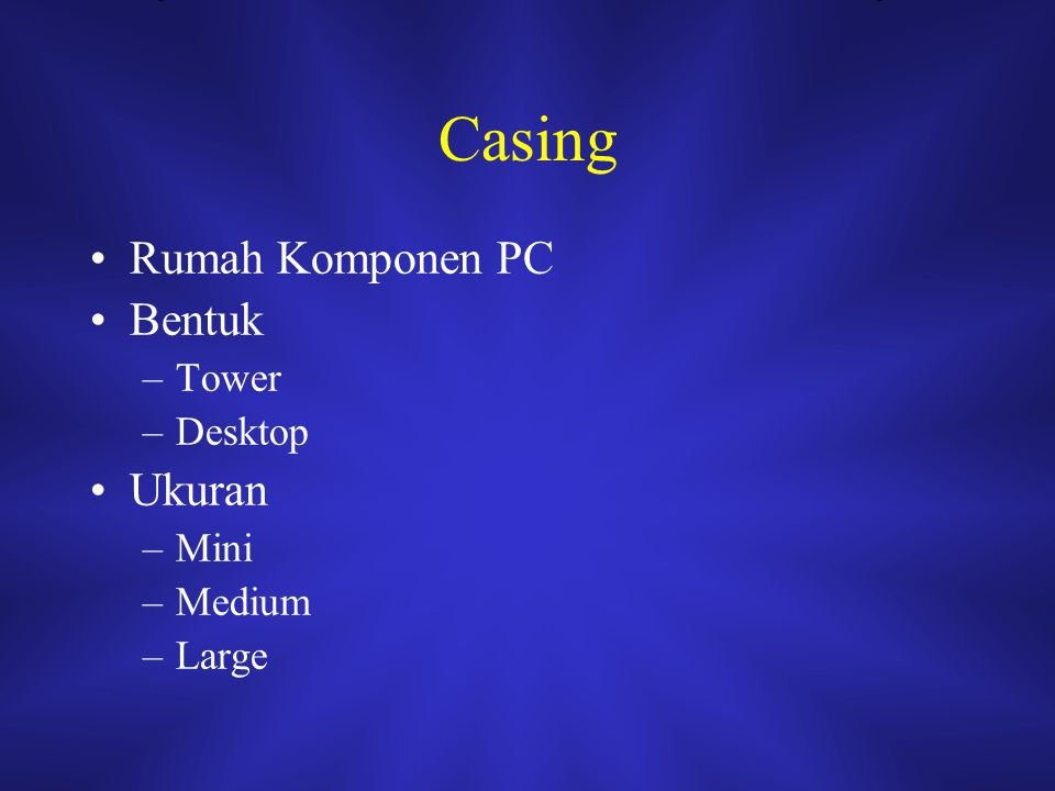 Casing Rumah Komponen PC Bentuk Tower Desktop Ukuran Mini Medium Large