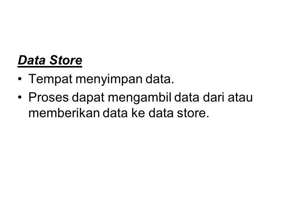 Data Store Tempat menyimpan data.