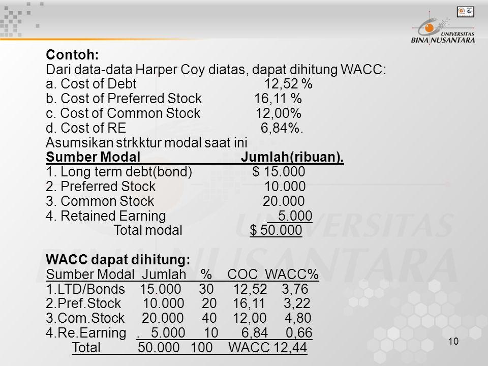 Contoh: Dari data-data Harper Coy diatas, dapat dihitung WACC: a. Cost of Debt 12,52 % b. Cost of Preferred Stock 16,11 %