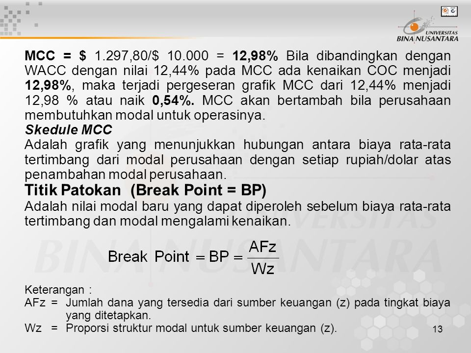 Titik Patokan (Break Point = BP)