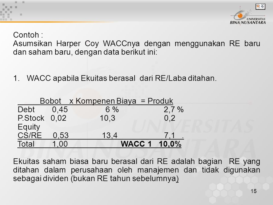 Contoh : Asumsikan Harper Coy WACCnya dengan menggunakan RE baru dan saham baru, dengan data berikut ini: