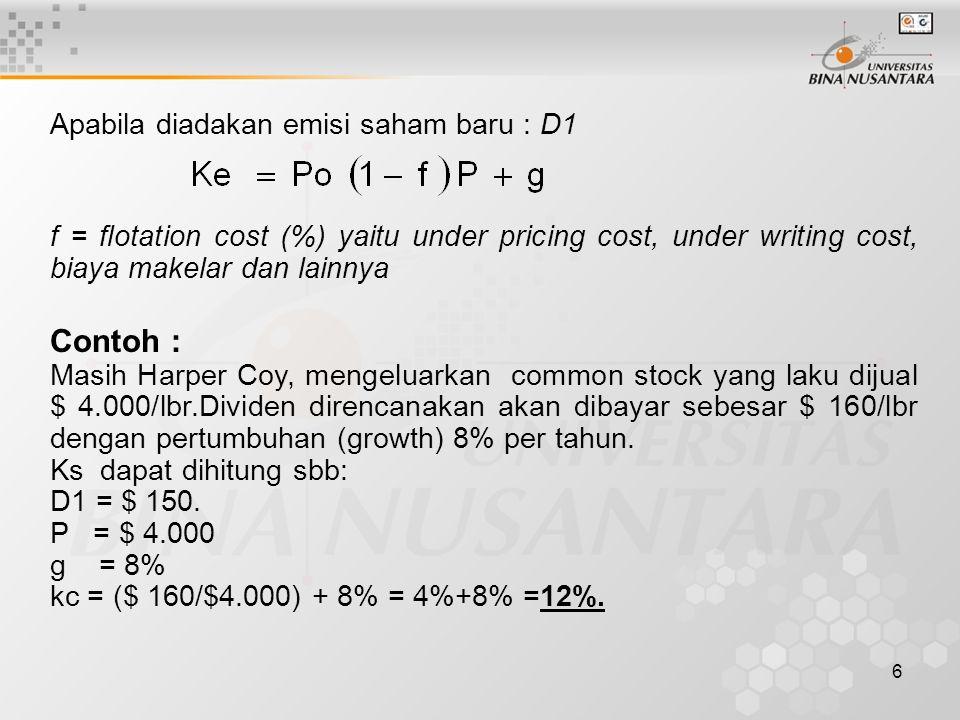 Contoh : Apabila diadakan emisi saham baru : D1