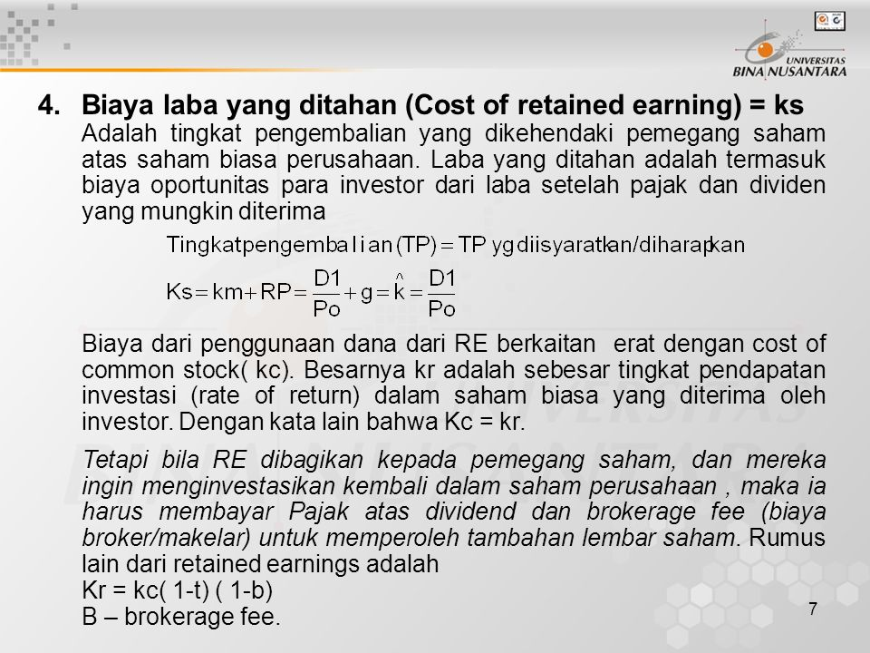 4. Biaya laba yang ditahan (Cost of retained earning) = ks