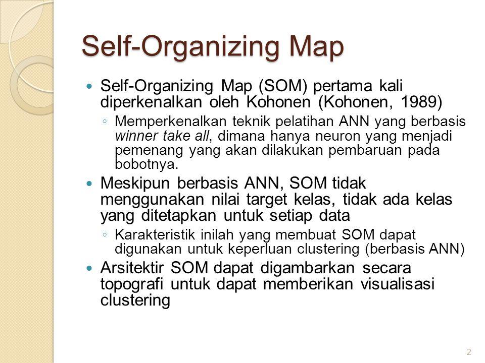 Self-Organizing Map Self-Organizing Map (SOM) pertama kali diperkenalkan oleh Kohonen (Kohonen, 1989)