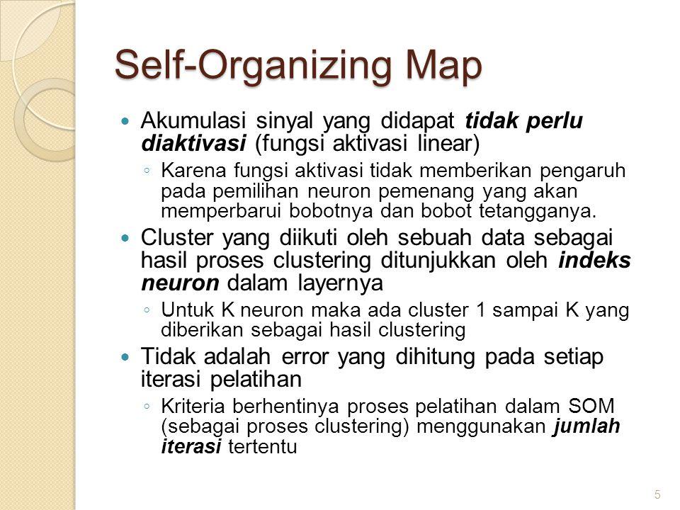 Self-Organizing Map Akumulasi sinyal yang didapat tidak perlu diaktivasi (fungsi aktivasi linear)