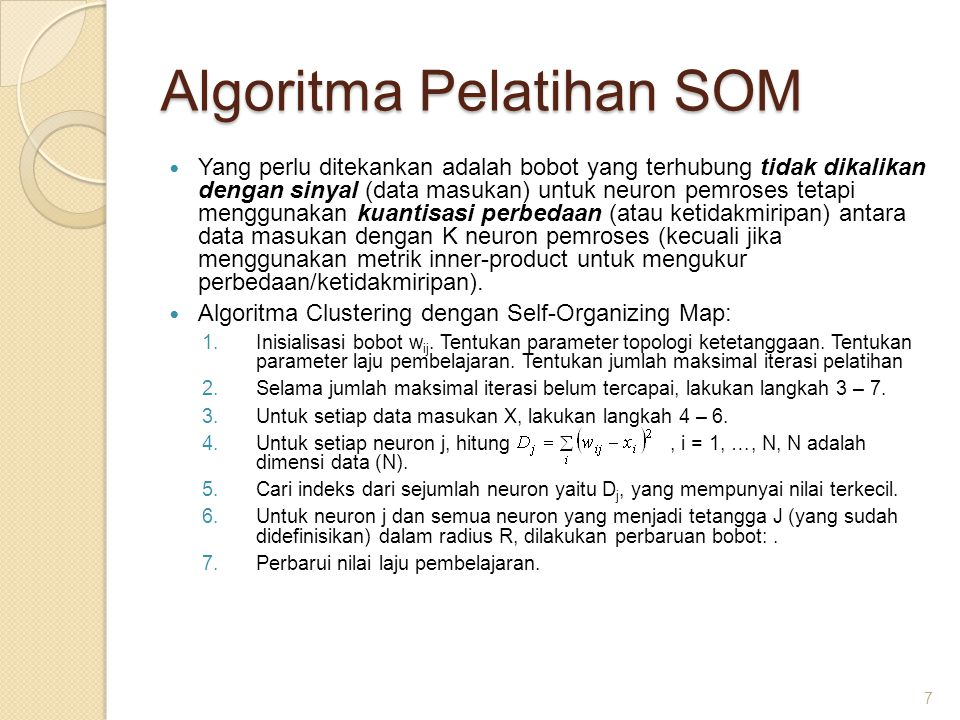 Algoritma Pelatihan SOM