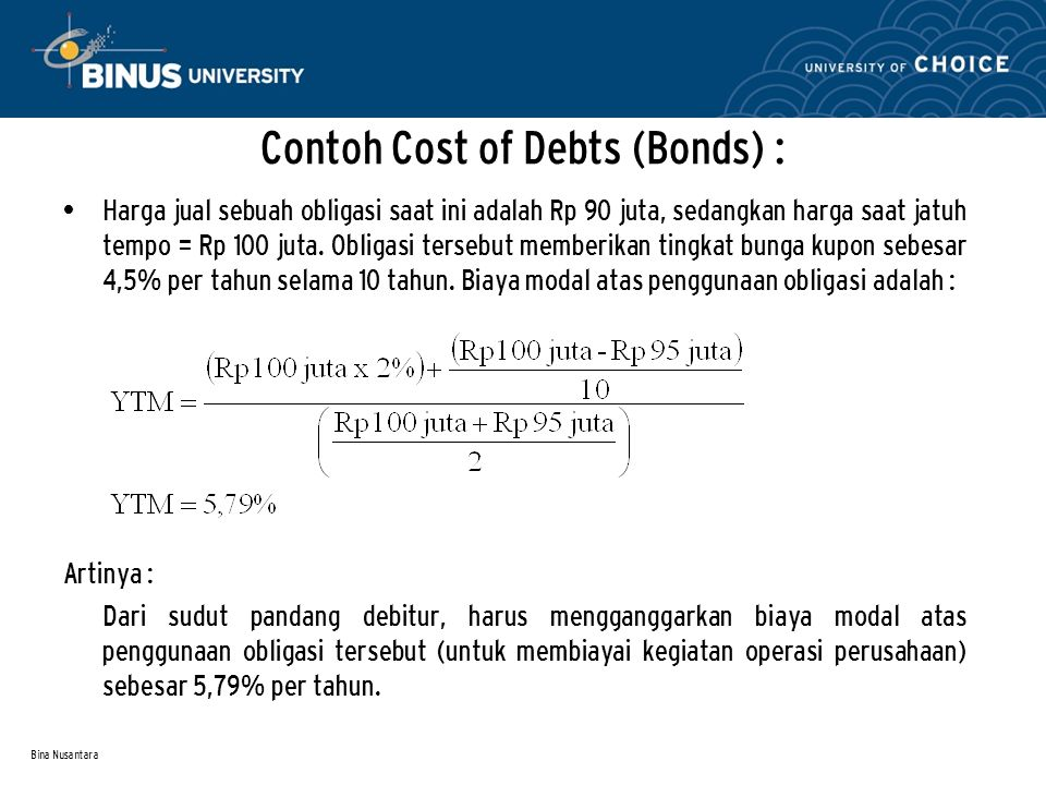 Contoh Cost of Debts (Bonds) :