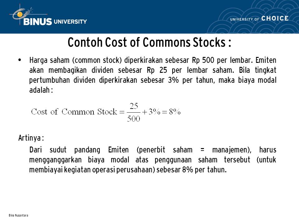 Contoh Cost of Commons Stocks :