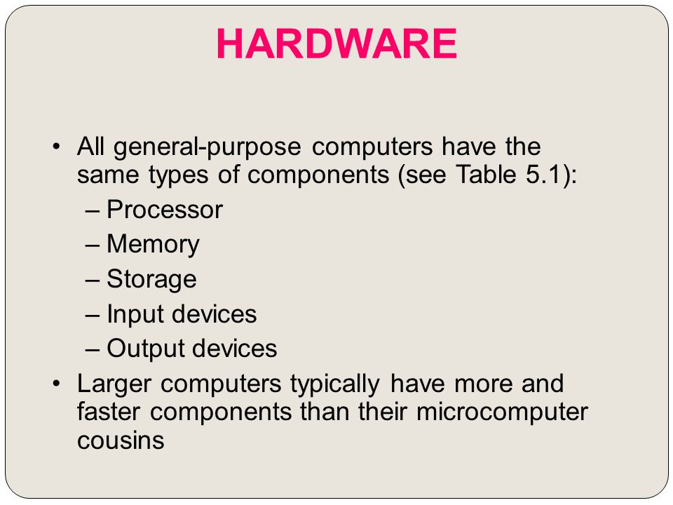 HARDWARE All general-purpose computers have the same types of components (see Table 5.1): Processor.