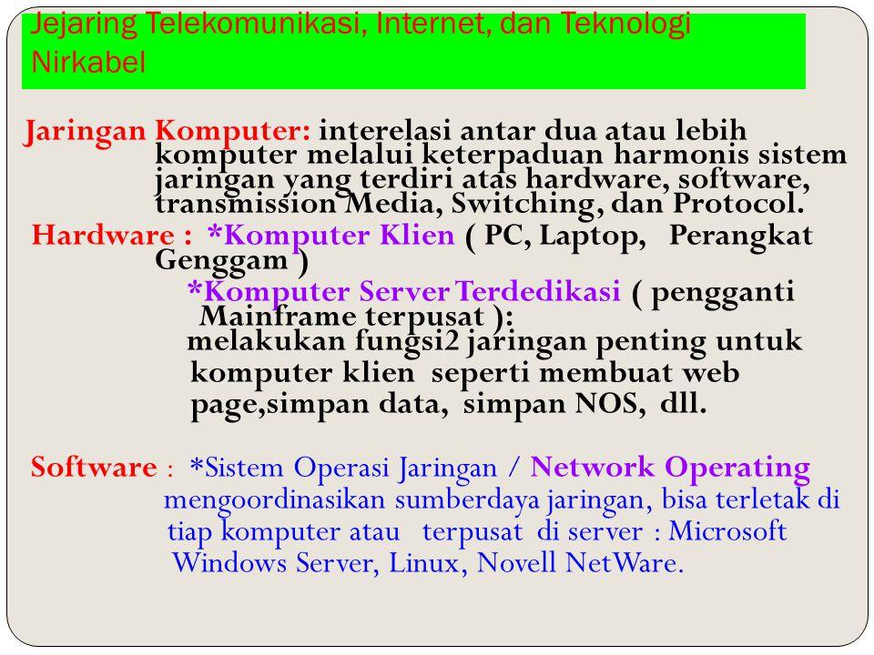 Jejaring Telekomunikasi, Internet, dan Teknologi Nirkabel