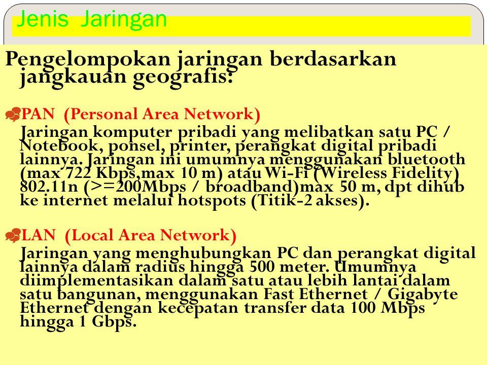 Pengelompokan jaringan berdasarkan jangkauan geografis: