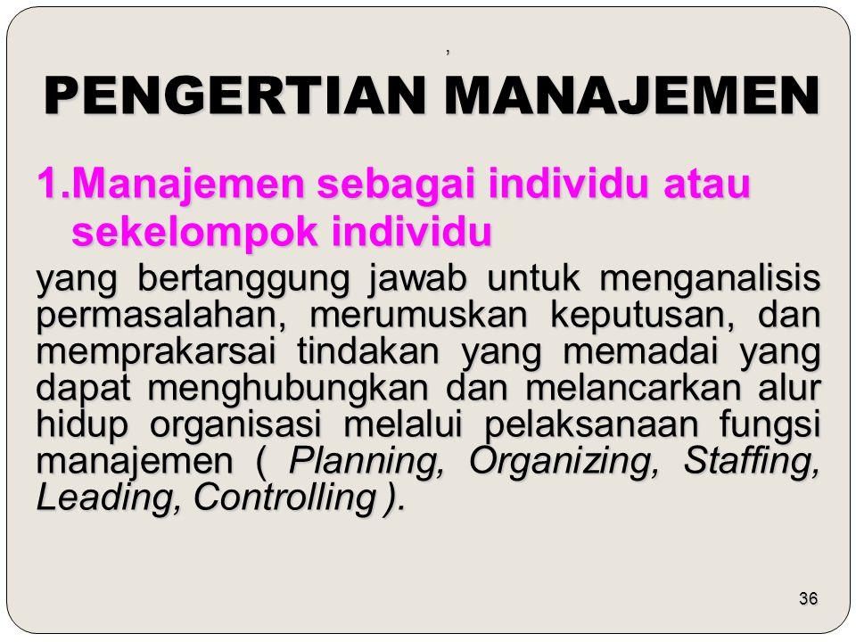 PENGERTIAN MANAJEMEN 1.Manajemen sebagai individu atau